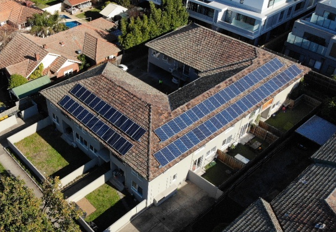 An aerial view of a SolShare solar panel installation
