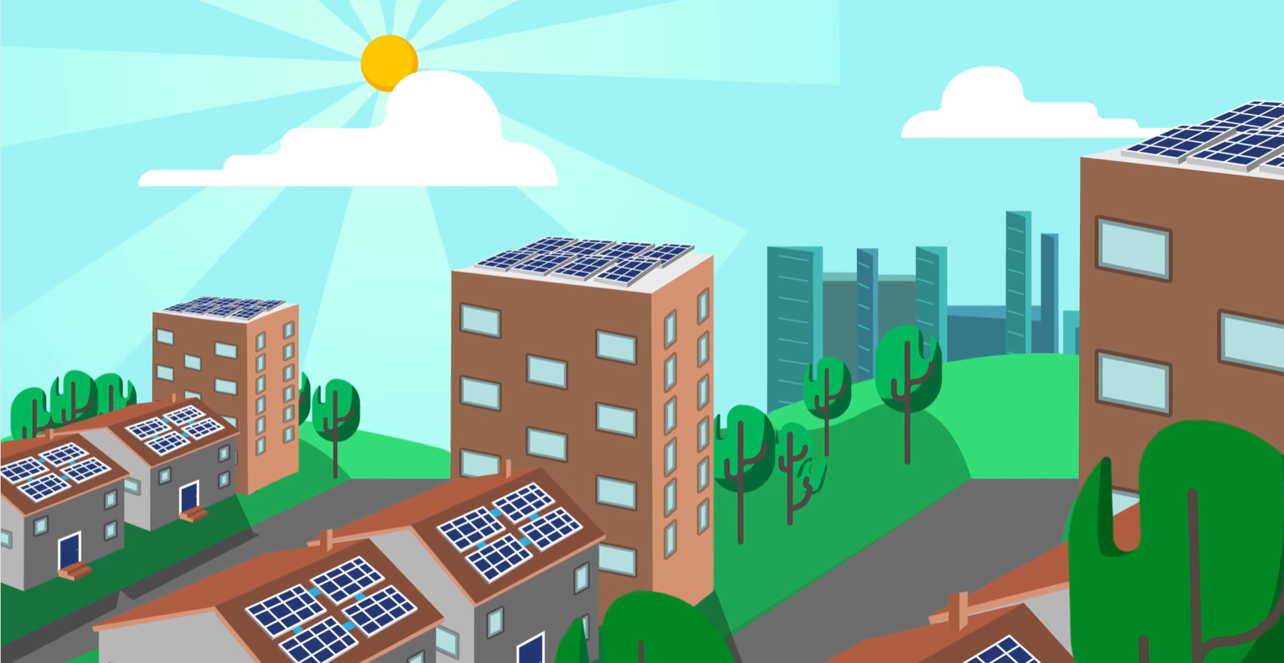 A cartoon showing all buildings having solar